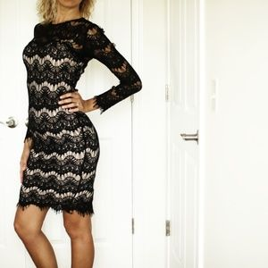 Dresses & Skirts - Black lace dress with nude